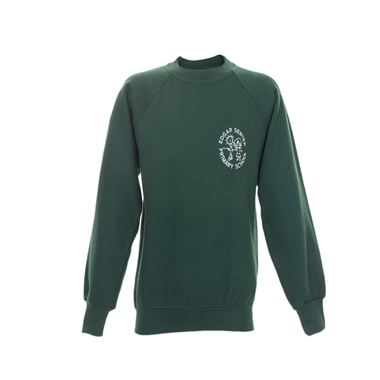 Edger Sewter Sweatshirt-Green With school crest Size Guide