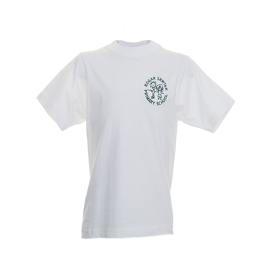 Edger Sewter T-Shirt-White with school crest