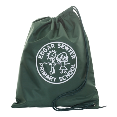 Edger Sewter Drawstring bag- Green with School crest