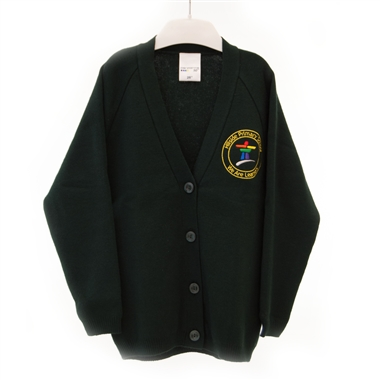 Hillside Knitted Cardigan - Green with School Crest