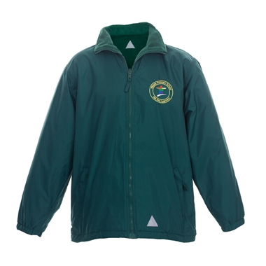 Hillside Reversible Coat - Green with School Crest Size Guide