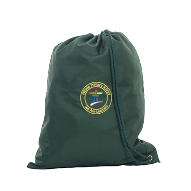 Hillside Side Drawstring Bag - Green with School Crest