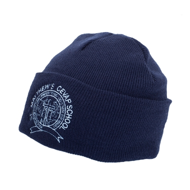 St Matthews Winter Hat - Navy with School Crest