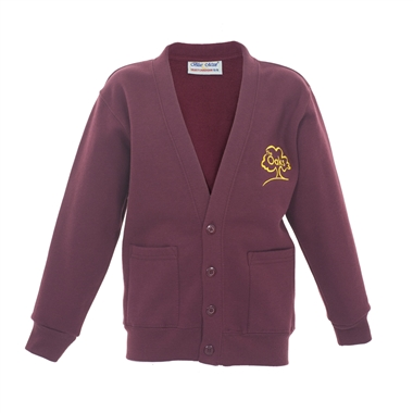 The Oaks Primary School Sweat Cardigan in Burgundy