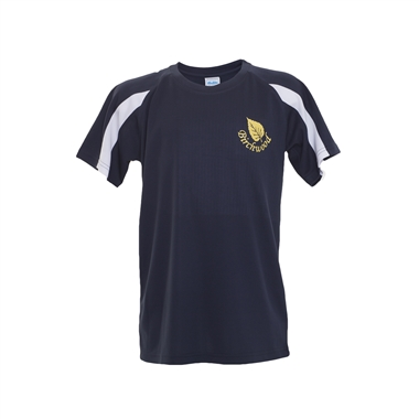 Birchwood PE T-Shirt in Navy; Yellow Logo