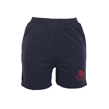 Birchwood PE Shorts in Navy; Red logo Size Guide