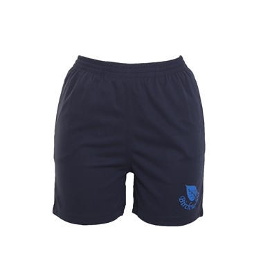 Birchwood PE Shorts in Navy; Blue logo