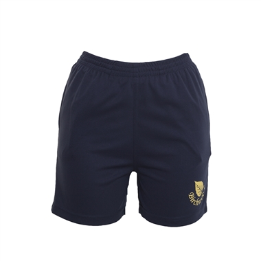 Birchwood PE Shorts in Navy; Yellow Logo