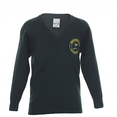 Hillside Knitted V Neck Jumper - Green with School Crest