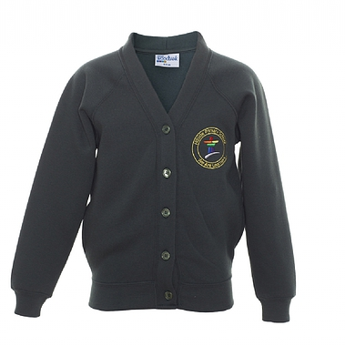 Hillside Sweat Cardigan - Green with School Crest Size Guide