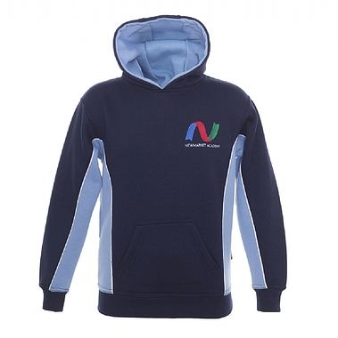 Newmarket Hooded Sweatshirt - Navy/Sky with School Logo