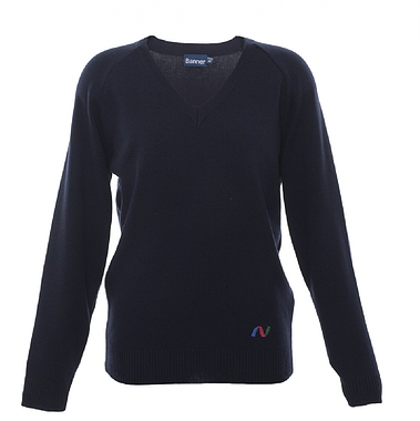 Newmarket V Neck Jumper - Navy with School Logo