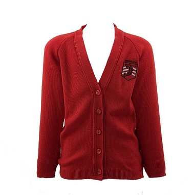 Westley Cardigan - Red with School Crest