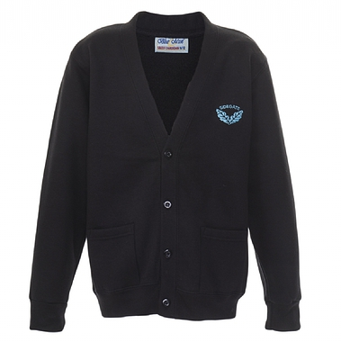 Sidegate Sweat Cardigan - Black with School Crest Size Guide