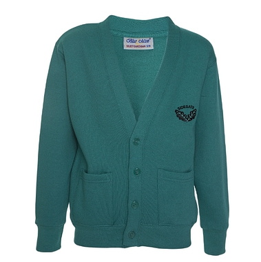 Sidegate Sweat Cardigan - Jade with School Crest