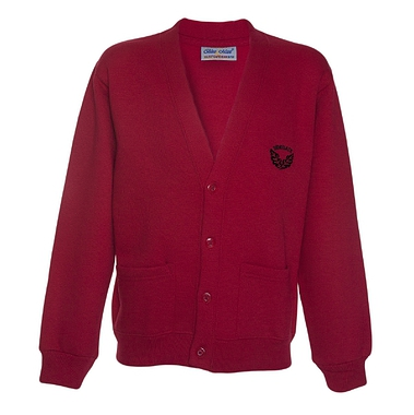 Sidegate Sweat Cardigan - Red with School Crest Size Guide