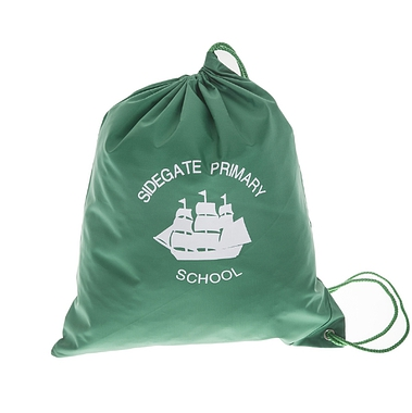 Sidegate Drawstring Bag - Green with School Crest