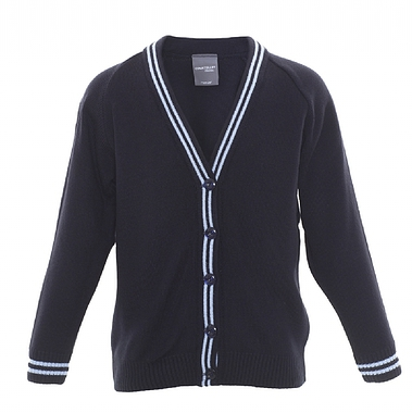 St Matthews Knitted Cardigan - Navy with Sky Twin Stripe on Collar and Cuff Size Guide