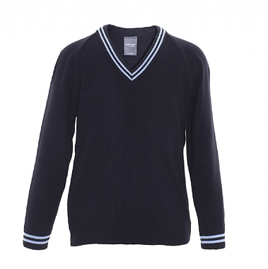 St Matthews Knitted Jumper - Navy with Sky Twin Stripe on Collar and Cuff